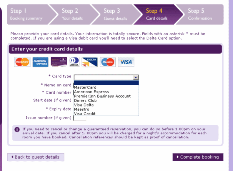 Premier Inn – what's a Debit card?